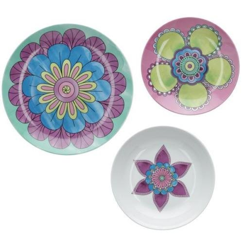 Rose&Tulipani Servizio piatti 18 pezzi POMPEI composto da 6 piatti piani + 6 piatti fondi + 6 piatti frutta in porcellana