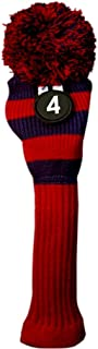 Majek #4 Hybrid Rescue Utility Red & Blue Golf Headcover Knit Pom Pom Retro Classic Vintage Head Cover
