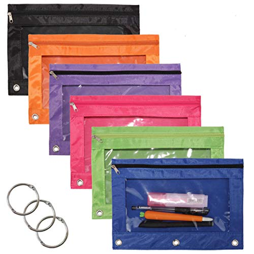 WODISON 3-Ring Pen Pencil Pouch with Clear Window Stationery Bag Binder Case Classroom Organizers 6-pack