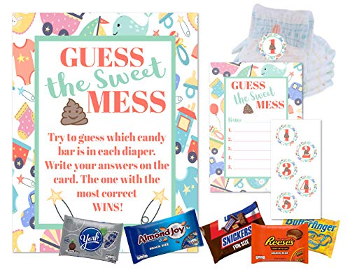 Dirty Diaper Game Baby Shower Guess This Sweet Mess Diaper Candy Poop Games For Boys and Girls Shower, Coed Gender Reveal or Sprinkles