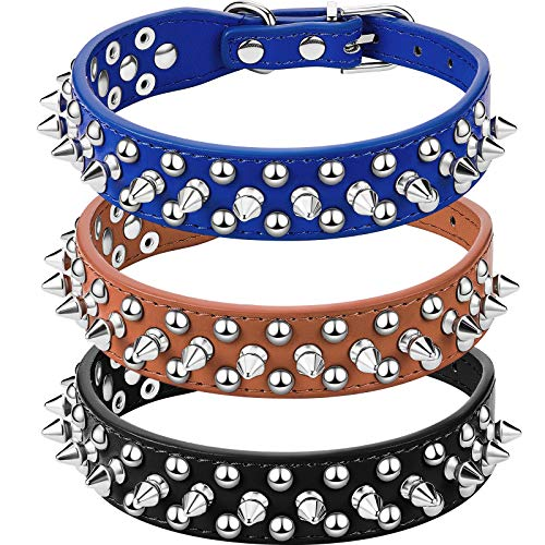 3 Pieces Studded Dog Collars Adjustable PU Leather Spiked Puppy Collars Pet Appearance for Small and Medium Dogs (Black, Brown, Dark Blue)