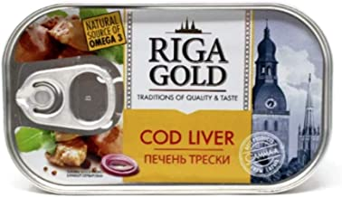 Riga Gold Cod Liver in Its Own Oil 4.27 Ounce, Product of Latvia (12 Pack)