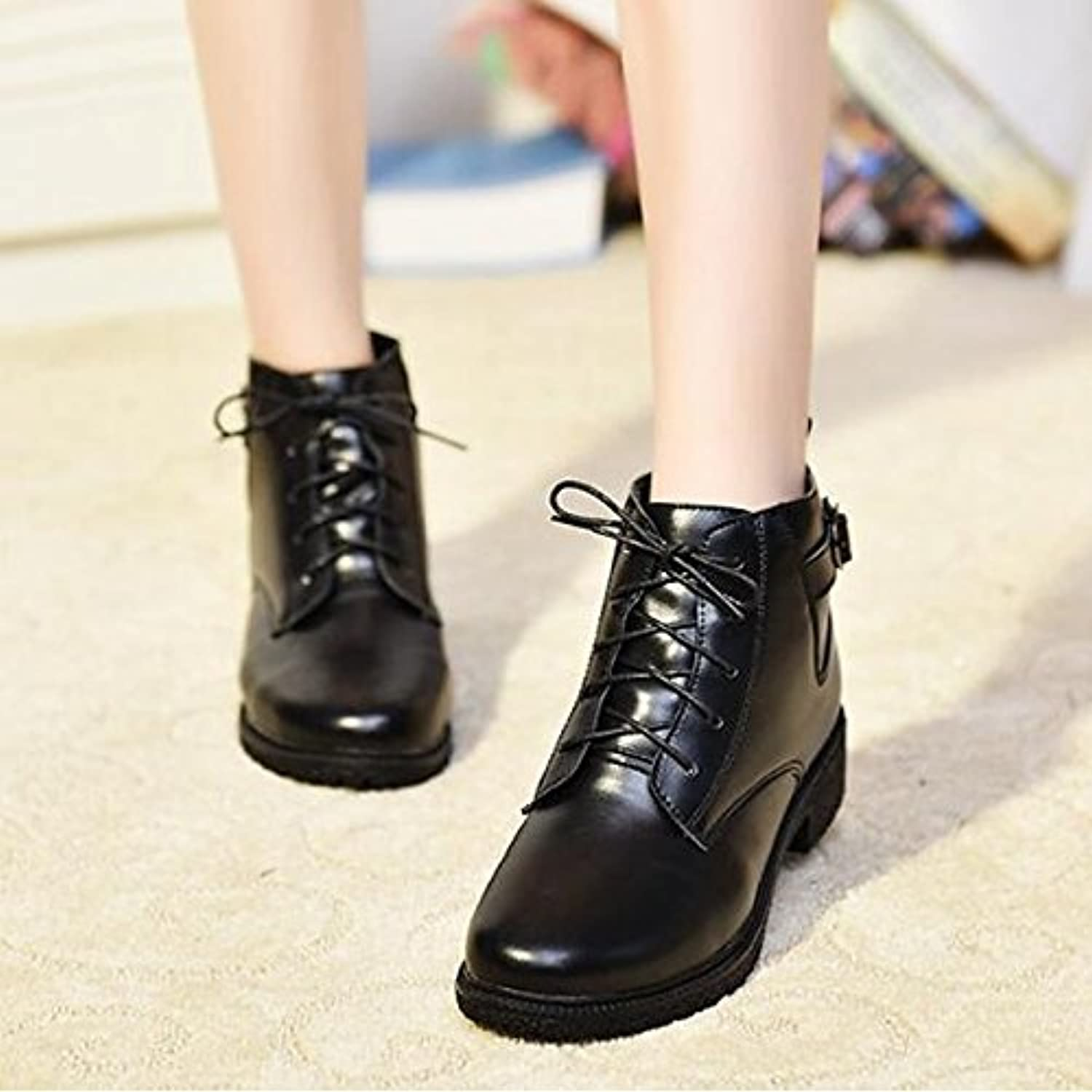 HSXZ Women's shoes Real Leather Winter Fall Combat Boots Fluff Lining Boots Flat Pointed Toe MidCalf Boots for Casual Black Brown