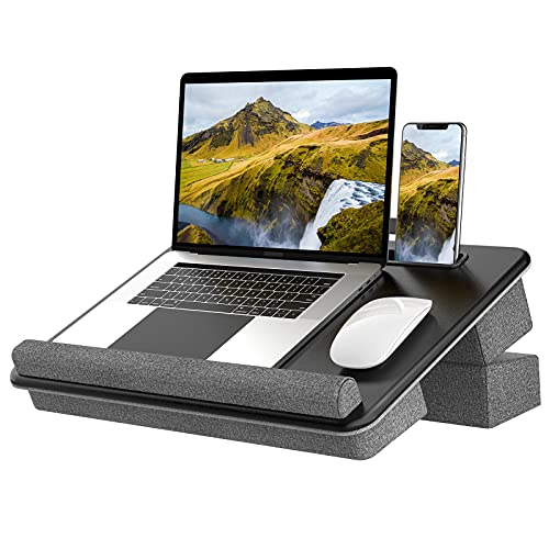 Portable Laptop Tray with Pockets&Slot&Handle,Klearlook Height Adjustable Waterproof PVC Leather Lap Desk with Cushion&Wrist Pad,Bed Sofa Lap Table with Phone Tablet Holder forNotebook up to17''-Small