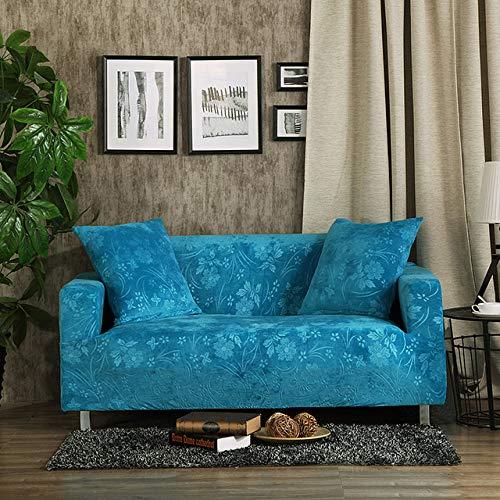 KTUCN Fundas de sofá, Fundas de sofá Gruesas de Jacquard Fundas de sofá elásticas universales Fundas de sofá seccionales Felpa cálida 1/2/3/4 plazas, Verde Azulado, 4 Seater