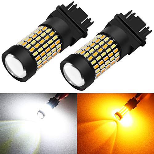 Phinlion Super Bright White Amber Dual Color Switchback 3157 3155 3057 3457 4157 LED Bulbs with Projector for Car Parking Turn Signal Lights