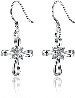 925 Sterling Silver Celtic Knot Cross Dangle Earrings Fish Hook Drop Earrings,Gift for Birthday,Graduation