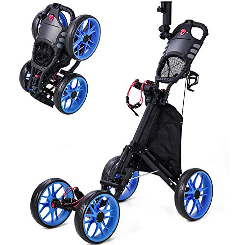 BANIROMAY Golf Push Cart 4 Wheel Lightweight Folding Golf Pull Carts Collapsible Golf Walking Cart for Golf Clubs