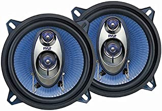 "5.25"" Car Sound Speaker (Pair) - Upgraded Blue Poly Injection Cone 3-Way 200 Watt Peak w/Non-fatiguing Butyl Rubber Surround 100-20Khz Frequency Response 4 Ohm & 1"