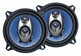 "5.25"" Car Sound Speaker (Pair) - Upgraded Blue Poly Injection Cone 3-Way 200 Watt Peak w/Non-fatiguing Butyl Rubber Surround 100-20Khz Frequency Response 4 Ohm & 1' ASV Voice Coil - Pyle PL53BL"