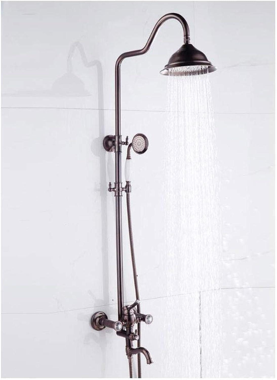 WSZLSD Duschsysteme Duschset Anti-Kratz- und Rostschutz 5 Jahre Garantie Braun Bronze Kupfer Duschrohr 304 Düse (braun)