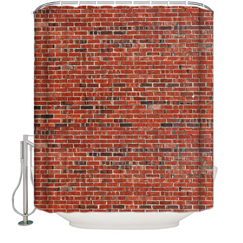 Vintage Red Brick Wall Shower Curtain Extra Long Size 72 x 84 Inch,Bathroom Decoration,Waterproof Polyester Fabric