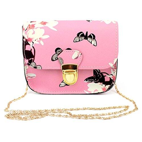 VJGOAL Damen Schultertasche, Frauen Mädchen Schmetterling Blumendruck Handtasche Schultertasche Messenger Mini Kleine Tasche Geschenk der Frau (17cm×14cm×7cm, Pink)