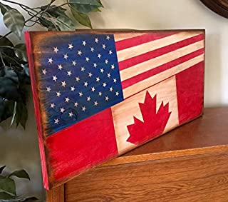 bawansign American and Canadian Flag Wooden Plaque Primitive Rustic Sign