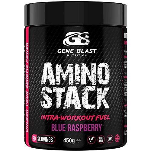 GENE BLAST Amino Stack - BCAA-EAA Supplement with Coconut Water Powder, Glutamine, S7 Nitric Oxide Booster-Exercise Support & Muscle Growth 450g 30 Servings (Blue Raspberry)