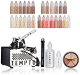 TEMPTU S-One Deluxe Complete Airbrush Kit: Makeup Set for Pros | Includes Blushes, Highlighters, S/B Foundation, Contour & Bronzer Colors, & Concealer & Primer | For Face & Body