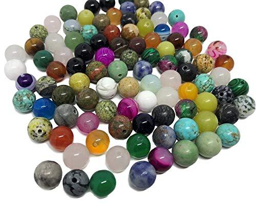 Crystal King - Set di 100 pietre miste semipreziose per gioielli, come ossidiana, avventurina, giada, onice, occhio di tigre, malachite, turchese, quarzo, quarzo rosa, ecc., per gioielli fai-da-te
