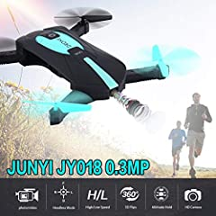 This mini foldable pocket drone is suitable for beginners, equipped with 6-Axis gyro and altitude hold function. Even if you release the throttle stick, the drone will not fly upward. Besides, with wifi function can be connected APP, we can take pict...