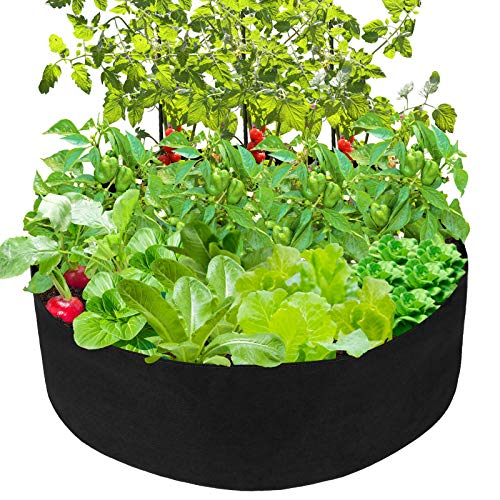 Pannow Raised Garden Bed, Fabric Raised Planting Bed Round Garden Grow Bag for Herb Flower Vegetable Plants (Black, Dia 36'' x H 12'')