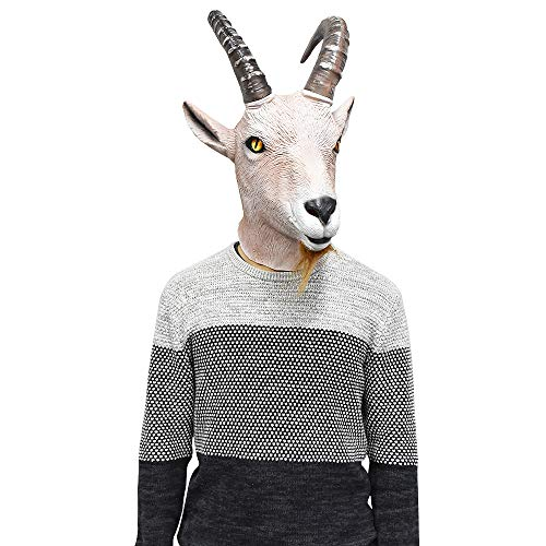 Latex Antelope Head Mask Farmyard Animal Goat Mask Halloween Fantasy Costume Party Dress Up