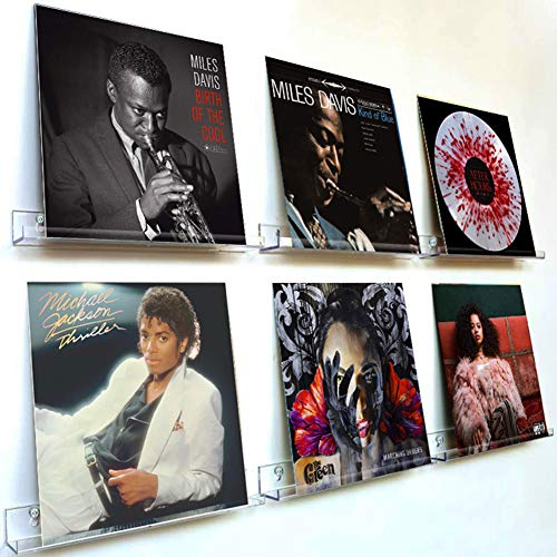 Acrylic Vinyl Records Wall Mount Display Record Album Holder Storage Show Your Daily LP Listening in Office Home 6-Shelf