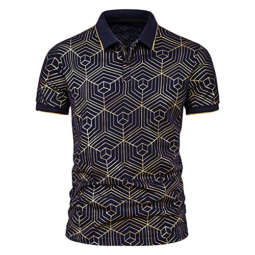 NP Men's Seahorse Conch Bronzing Printing Short-Sleeved Lapel T-Shirt m-XL