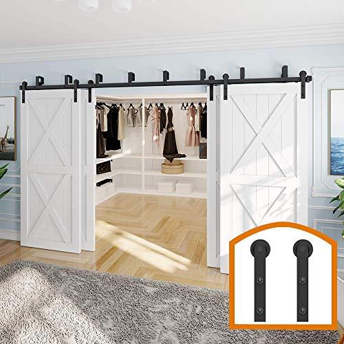 ZEKOO 9 FT Double Track Bypass Barn Door Hardware 4 Door Rustic Style Use for Third Doors Steel Set
