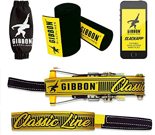 Gibbon Slacklines Classic Line mit Treewear, Gelb, 15 Meter (12,5m Band + 2,5m Ratschenband), inklusive Ratschenschutz, -rücksicherung und Baumschutz, Breite 2