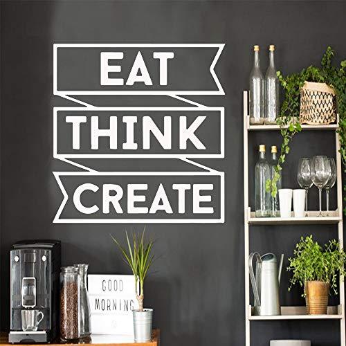 Cita creativa Eat Think Create Frase Pegatinas de pared Decoración extraíble para el dormitorio Sala de estar Decoración Calcomanía Wallstickers Negro XL 57cm X 59cm