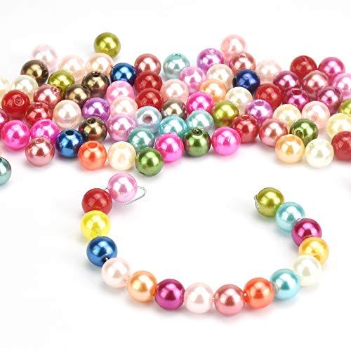 UTRUGAN 600 Stück Kunstperlen 8mm perlen Runde Perlen Farbige Perle Bunte künstliche Perlen Bastelperlen Rund Kugel Dekoperlen mit Loch für Kunsthandwerk, Armbänder, Halsketten, Stickereien, Kleidung