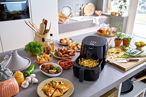 Philips Kitchen Appliances Premium Digital Airfryer with Fat Removal Technology + Recipe Cookbook, 3 qt, Black, HD9741/99, X-Large