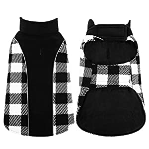 Kuoser Reversible Dog Cold Weather Coat, Reflective Waterproof Winter Pet Jacket, British Style Plaid Dog Coat Warm Cotton Lined Vest Windproof Outdoor Apparel for Small Medium and Large Dogs
