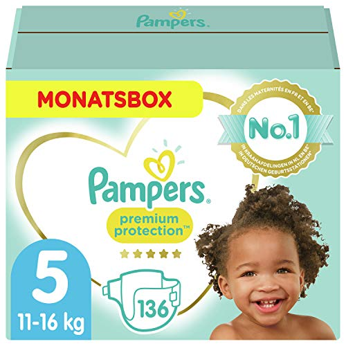 Pampers Größe 5 Premium Protection Baby Windeln, 136 Stück, MONATSBOX, Weichster Komfort Und Schutz (11-16kg)