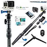 Nomadic Gear Selfie Stick & Tripod: Professional Quality, Highest Rated Selfie Stick bundle with Sturdy Metallic Tripod Attachment and Bluetooth Remote | Universal support for Smartphones and Cameras | Heavy-Duty Rugged Waterproof Design | Make a Perfect Gift for Travel Photography & Epic Adventure Selfies | Receive Free Ebook Guide!