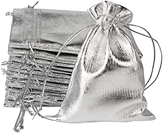 Valuxe Pack of 100 Heavy Duty Silver Drawstring Organza Jewelry Pouches, Wedding Party, Christmas Favor Gift Bag, Candy Ch...