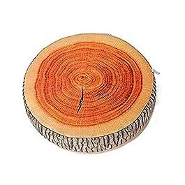 EJY Creative Bois Rond Grain Doux en Peluche Chaise Siège Coussin Oreiller Maison De Voiture Décoration Souche d'arbre…