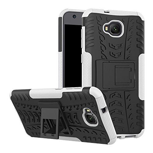 TiHen Handyhülle für Asus Zenfone 4 Selfie ZD553KL Hülle, 360 Grad Ganzkörper Schutzhülle + Panzerglas Schutzfolie 2 Stück Stoßfest zhülle Handys Tasche Bumper Hülle Cover Skin mit Ständer -Weiß