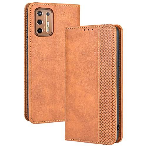 TANYO Leder Folio Hülle für Motorola Moto G9 Plus, Premium Flip Wallet Tasche mit Kartensteckplätzen, PU/TPU Lederhülle Handyhülle Schutzhülle - Braun