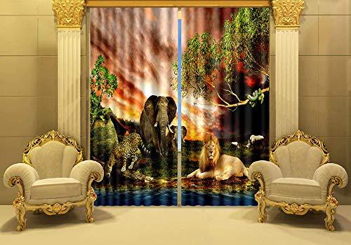 Vorhänge Blickdicht Afrika Tier Elefant Löwe L87 X54 W/220X215Cm Verdunkelungsvorhänge Mit Ösen Gardinen Wärmeschutz & Geräuschreduzierung Für Zimmer Wohnzimmer Schlafzimmer- 2 Stücke
