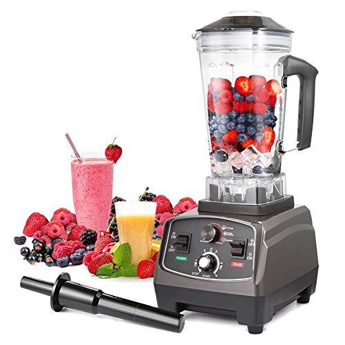 Staande mixer professionele smoothie maker ijs crusher met 25.000 omw/min, 1400 W, BPA-vrij, 2 liter ideaal voor smoothies, ijs, rauwkost en milkshakes (6 roestvrij stalen messen) krachtige mixer