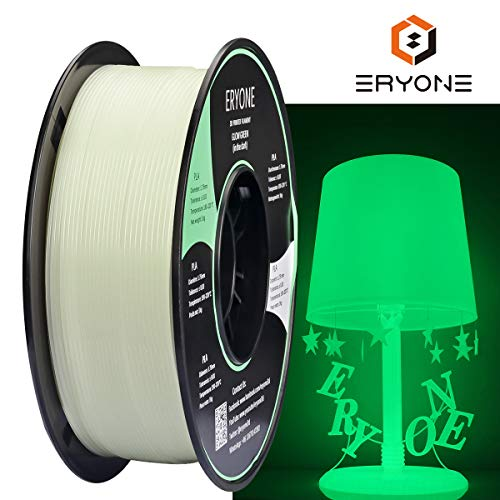 Eryone Glow Green in The Dark PLA 3D Printer Filament 1.75mm, Dimensional Accuracy +/- 0.05 mm, 1kg (2.2LBS) / Spool
