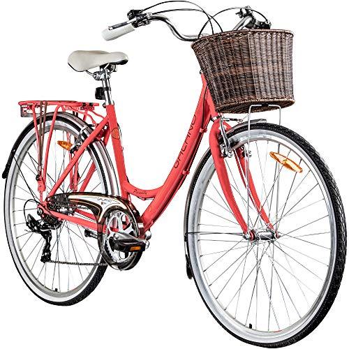 Galano Piccadilly 28 Zoll Damenfahrrad 7 Gang Citybike Stadt Fahrrad Damenrad Hollandrad (Coral, 41 cm)