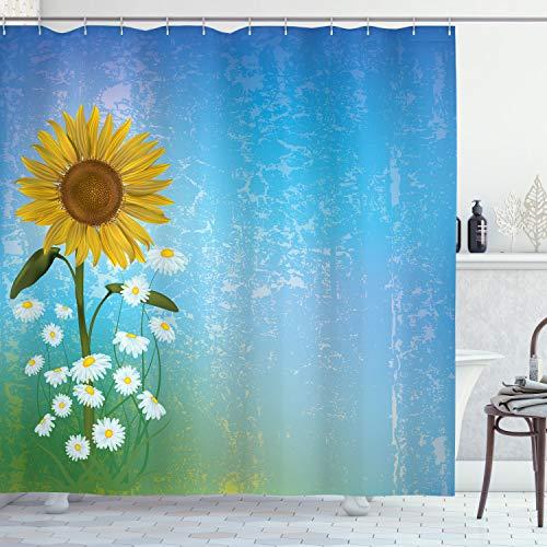 ABAKUHAUS Pastell Duschvorhang, Sonnenblumen Kamille, mit 12 Ringe Set Wasserdicht Stielvoll Modern Farbfest & Schimmel Resistent, 175x200 cm, Gelb Grün Blau
