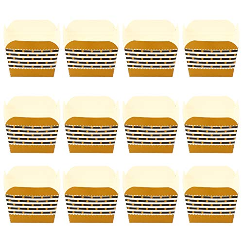 jojofuny 100pcs Cupcake Baking Cups Square Cupcake Liners Disposable Baking Wrappers Muffin Cups Desserts Holders for Bread Muffins Mini Snack (Golden Black)