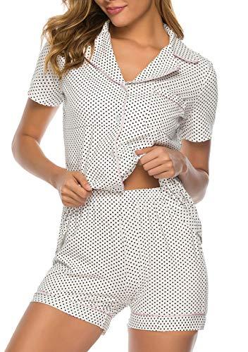 OMZIN Damen Schlafanzug Sleepwear Nachtkleid Sommer Sleepwear Short Pyjama Zweiteiliger Sleepwear Nachthemd Weiß XL