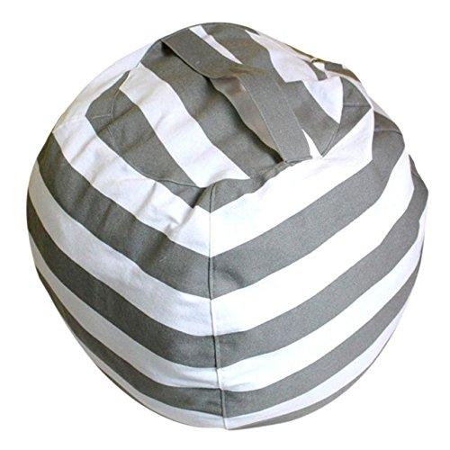 N / A Großer 16 Zoll Streifen Stoff Stoff Stuhl Sitzen Kinder Plüschtier Aufbewahrungstasche Beutel Zeug Tier Aufbewahrung Sitzsäcke mit Trägergriff 40CM
