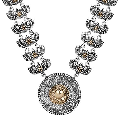 Aheli Vintage Boho Inspired Oxidized Intricate Crafted Round Pendant Statement Necklace Indian Ethnic Wedding Jewelry for Women