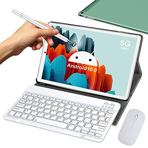 5G Tablet 10 Pollici con Wifi Offerte 4GB RAM 64GB 128GB Espandibili Android 10.0 Certificato Google GMS 1.6Ghz Tablet PC 6000mAh Bluetooth GPS Tablet Dual WiFi Versione con Tastiera e Mouse,Verde