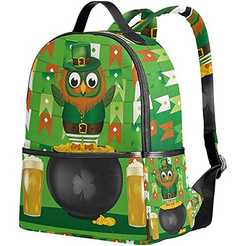 Backpack,St. Patricks Day Green Owl Gold Pot Biere Bookbag Casual Student Rucksäcke Für Erwachsene Outdoor Gym 37Cm(H) X30.5Cm(W)