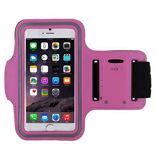 Hot Pink Armband Exercise Workout Case with Keyholder for Jogging fits Jethro SC628 3G Senior Cell FLIP Phone. for Arms up to 12 inches Big, Works Best with no Cover on Your Phone.